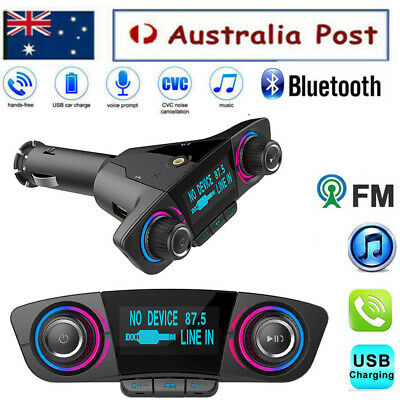 Handsfree Wireless Bluetooth Car Kit FM-Transmitter Radio MP3 Player USB Charger