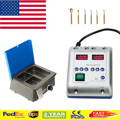 US Dental Lab LED Electric Waxer Carving Pen + 3-Well Pot Analog Wax Heater Tool