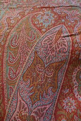 Lovely antique c1850 woven wool paisley Crinoline shawl. Cream & red centre
