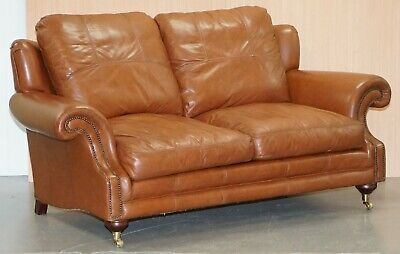 Rrp £3299 Medallion Upholstery Brown Leather Two Seat Sofa Part Of Large Suite