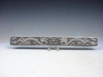Tibetan Silver Paperweight Double Dragons Fireball Carved 4.8 OZ #05011910