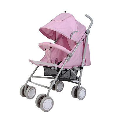 Baby Girl Stroller Pushchair Foldable Lightweight Pram With Free Pink Rain Cover
