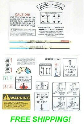 David Brown 880 885 990 995 1210 1412 Tractor Warning & Operations Decal Kit