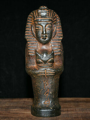 "9"" Old Chinese Hongshan Culture Jade Stone Egypt Pharaoh King Woman Beast Statue"