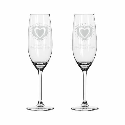 Vintage Heart Pair of Personalised Champagne Flutes Weddings Valentines Glasses