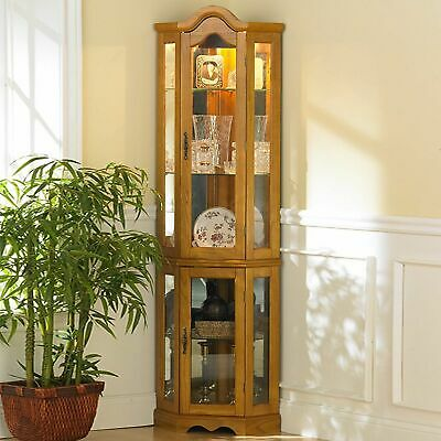 Oak Finish Lighted Glass Corner Curio Cabinet Home Living Room Furniture Shelves