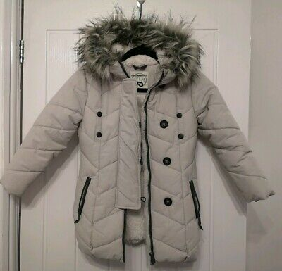 Next Girls Grey Coat Light Grey 8 Years worn once mint condition