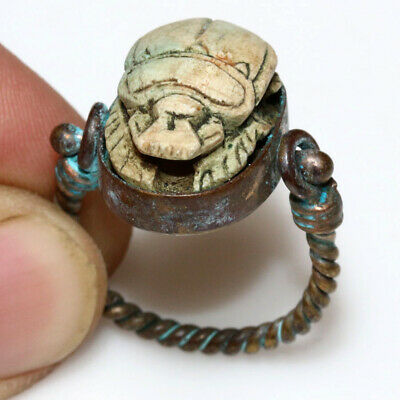 Perfect Quality - Vintage Egyptian Bronze Ring With Ancient Genuine Scarab Seal