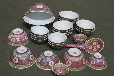 Mun Shou Rose Famille Red Chinese Porcelain Longevity Bowls 29 Pieces 6 Sizes