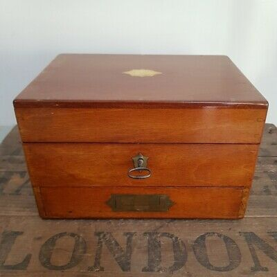 Antique Victorian English Mahogany & Brass Apothecary Box by Leath & Ross