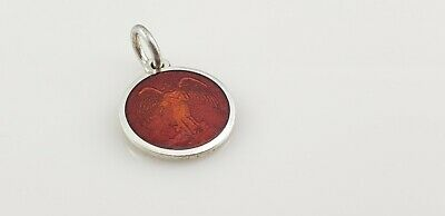 Red Enamel Guardian Angel 925 Sterling Silver Round Medal Pendant X-Small 14.5mm