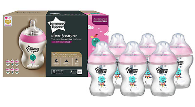 Tommee Tippee 6 Bottle Pack 260ml 9oz Pink Anti Colic Slow Flow Teats Bpa Free