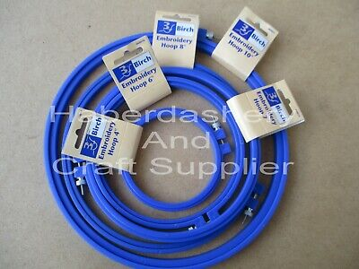 Birch Embroidery Hoops X 5 Sizes Plastic With Screw*Blue