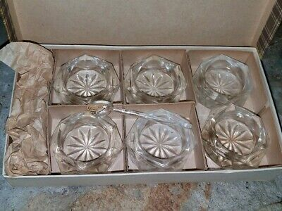 Vintage 6 Bohemian Glass Crystal Czech Caviar Dishes/Salt Cellars W/6 Spoons