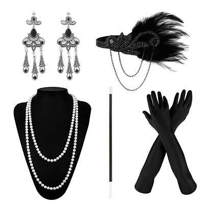 5x 1920's Fancy Dress Flapper Gatsby Charleston Gangster Costume Accessories Set