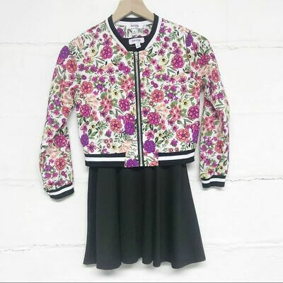 Speechless Size 10 Girls Black Dress with Floral Bomber Jacket