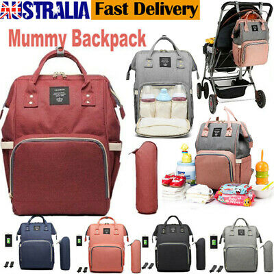 Waterproof Large Mummy Bag Nappy Diaper Baby Travel Changing Nursing Backpack AU