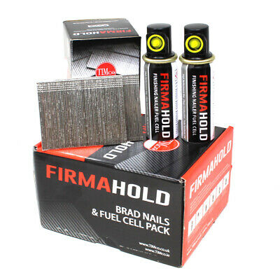 2000 x 32mm FIRMAHOLD GALVANISED 16G STRAIGHT BRAD NAILS + 2 FUEL CELLS BG1632G
