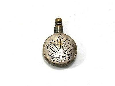 Vintage Chinese Brass Snuff Bottle Old Exquisite Carved Floral Decorated Pendant