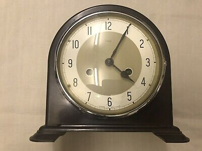 Antique Art Deco Smiths Enfield Bakelite Cased Striking Mantel Clock