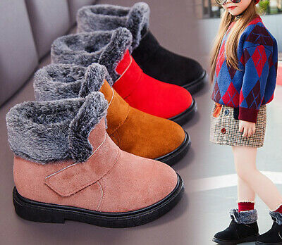 Children Girls Kids Furry Lined Soft Boots Casual Winter Warm Ankle Snow Boots