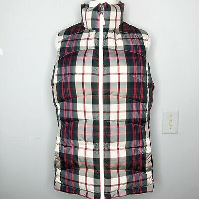 Lands End Women's M Tartan Plaid Down Insulated Puffer Vest Red White Green