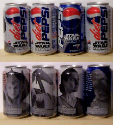 Pepsi Cola 4 Different Star Wars Episode 1 Soda Pop Cans All Bottom Opened 388