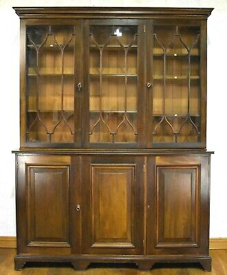 Antique large glazed library bookcase - display cabinet