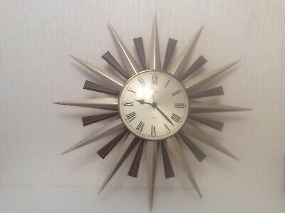 ICONIC 1960's/70's METAMEC SUNBURST/ STARBURST WALL CLOCK WORKING