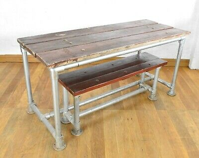 Rustic industrial scaffold kitchen / dining / garden table with matching bench