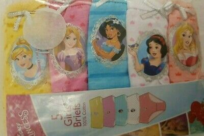 Disney Princess girls briefts 5pk underwear Age 4 5 6 Primark BNWT 100% COTTON