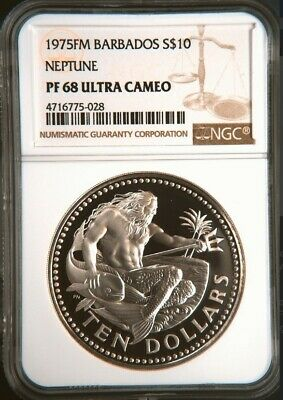 1975FM S$10 Barbados Ten Dollars Neptune Silver Proof NGC PF68 Ultra Cameo