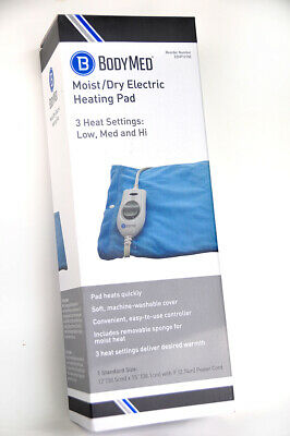 ELECTRIC HEATING PAD by BodyMed MOIST-DRY Washable Cover w/ 3 Settings - New