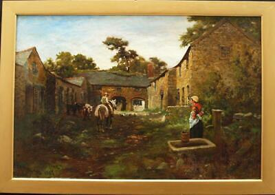 LARGE 19th CENTURY WORKING FARMYARD SCENE HORSE & CATTLE  Antique Oil Painting
