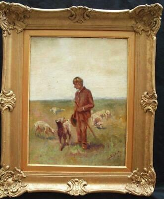 19th CENTURY YOUNG SHEPHERD DOG & SHEEP IMPRESSIONIST Antique Oil Painting