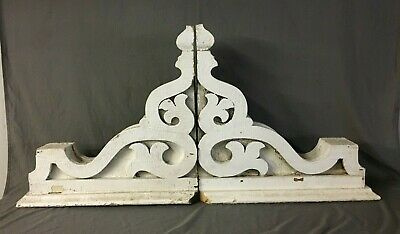 Pair Extra Large Antique White Roof Corbels Cornice Shabby Vtg Chic Old 5-20M