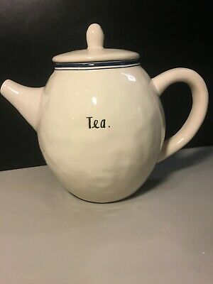 Rae Dunn Ceramic Teapot by Magenta - Teapot with blue line,