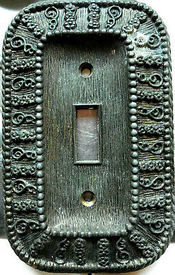 1968 American Tack & Hardware Co Brass Switch Plate Cover Floral Filigree Lovely