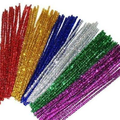 50Pcs Glitter Chenille Sticks Infused Pipe Cleaners Stems Asst Colours 30cm