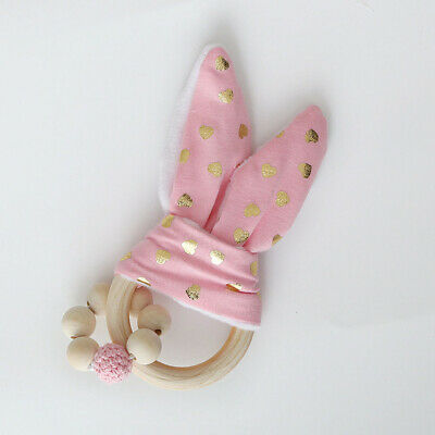 Wooden Natural Teether Bunny Sensory Toy Baby Teething Ring Random Colors