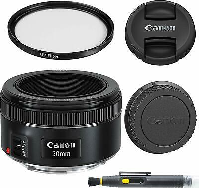 Canon Ef 50Mm F/1.8 Stm: Lens With Glass Uv Filter, Front And Rear Lens Caps, An