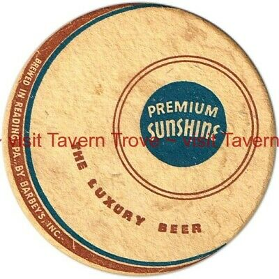 "1930s PENNSYLVANIA Reading Barbey's PREMIUM SUNSHINE BEER 4¼"" Tavern Trove"