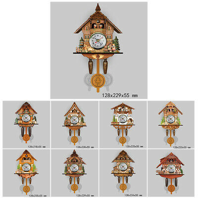 Vintage Wooden Bird House Wall Clock Forester Auto Swing Cuckoo Bell Pendulum