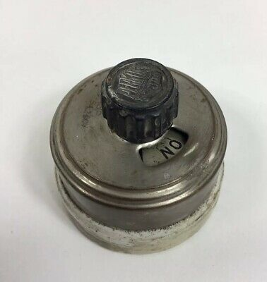 Antique Porcelain Rotary Light Switch Round Nickel  ~ Perkins ~ Made in USA