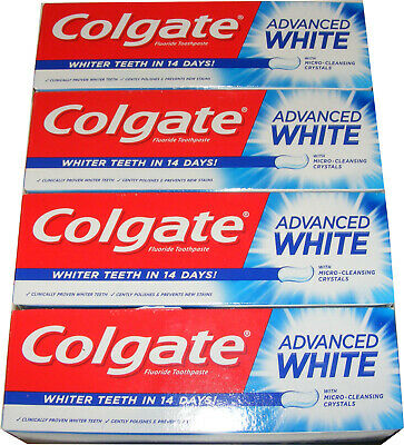 4 Tubes Of Colgate 50Ml Advanced White Toothpaste With Micro Cleansing Crystals