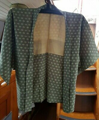 Fab Green With Contrast Patterned Vintage Japanese Haori (Kimono Jacket)
