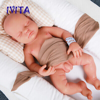 18''Silicone Closed Eyes Sleeping Baby Lifelike Doll Boy Birthday Gift Toy Doll