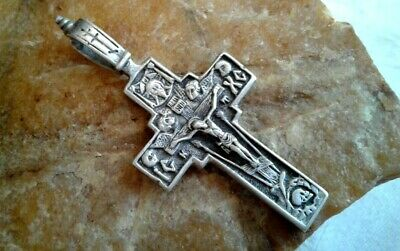 "VINTAGE STERLING SILVER ""925"" ORTHODOX ""SKULL"" CRUCIFIX with HOLY FACE of JESUS"