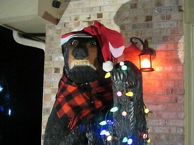 8ft tall chain saw carved wood bear