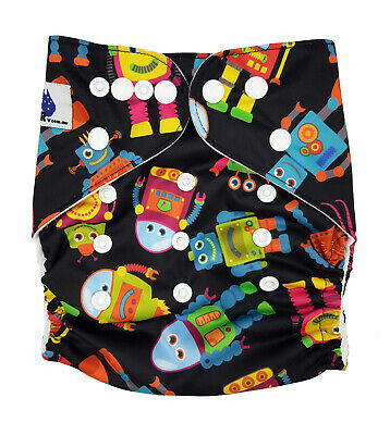 Modern Cloth Reusable Washable Baby Nappy Diaper & Insert, Radical Robots